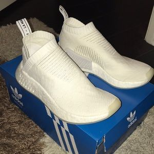 new white adidas nmd boost sock sneakers
